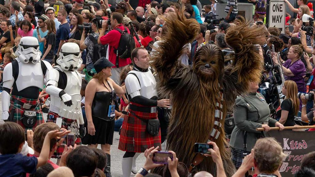 Chewbacca and Stormtroopers