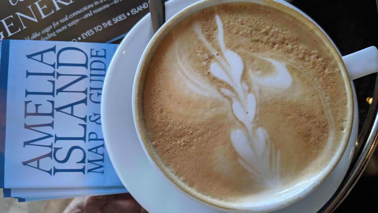 Latte art at Amelia Island Coffee